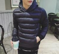 Winter Mens Pullover Padded Coat Couple Down Zipper Cotton Hooded Jacket LSQ7