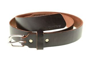BillyKirk No. 117 Dark Brown Leather Mens Mechanics Belt Silver Buckle 34