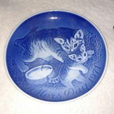 "B & G Bing Grondahl Copenhagen Mothers Day 1971 Cat Kitten Kitty Plate Blue 6"""