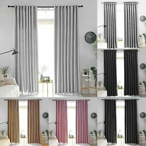 46x72 inch Blackout Velvet Curtains Eyelet Ring Top Ready Made Lined Pair