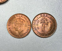 1945 Ceylon 1 Cent Coin CHOICE Red & Brown UNC   NICE!!