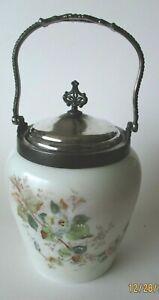 Antique VICTORIAN BISCUIT .Cracker JAR - OPAQUE..- HP FLORAL Handle & Lid