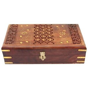 Wooden Handmade Jewellery Box for Women Jewel Organizer, Hand Carved 10 inches