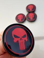 4x Punisher 60mm Felgendeckel Nabendeckel Nabenkappen Alufelgendeckel schw Rot