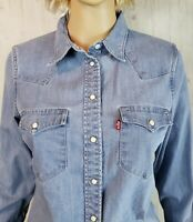 Levis Red Tab Womens Denim Shirt Button Front Small Blue Pearl Snap Tailored Fit