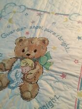 baby blanket , light weight , beautiful cross stitching  34x43 , New no tags