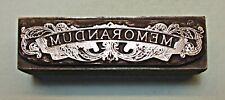 """MEMORANDUM BOOKPLATE"" (19th Cent Design) PRINTING BLOCK."