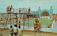 NJ North Wildwood LARGEST OLYMPIC POOL Sportland Pool & Bathhouse postcard B10