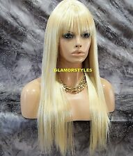 Long Straight W Bangs Bleach Blonde Mix Full Synthetic Wig Hair Piece #613 NEW