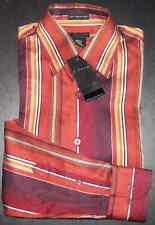 J. Ferrar Shirt Button-Front S 14-14.5 Striped Orange Bronze Brown NWT s3705