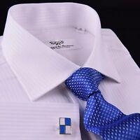 Classic White Luxury Twill Striped Formal Dress Shirt Everyday Business Fashion