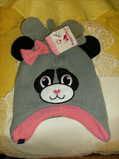 #6 Rugged Bear BABY Size 2T-4T Month Cap & Mittens Gray Black Pink NEW REG $20