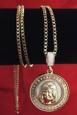 """14K Gold GP Iced Silver Sandstone Inlay Round Jesus Pendant Necklace 30"""" Chain"""