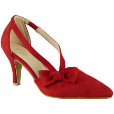 Womens Ladies Faux Suede Elastic Strap New Mid Heel Office Work Party Shoes Size