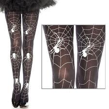 Women Full Black/White Spiderweb Pantyhose Spider Web Tights Halloween Costume