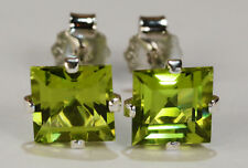 BEENJEWELED GENUINE MINED SQUARE CUT PERIDOT EARRINGS~STERLING SILVER~6MM