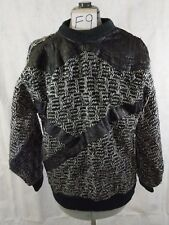 Trutus Biancarra Sweater Men's L Black Gray Textured Faux Leather Vtg 80s F9