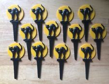Lot of 12 Ct WILTON 3D Black Cat Halloween Cupcake Pick Topper NEW 1985 Vintage
