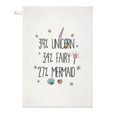 39% Unicorn 34% Fairy 27% Mermaid Tea Towel Dish Cloth - Funny