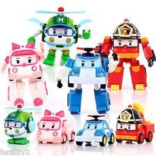 4 Pcs Robocar Poli Transformation Robot Car Toys South Korea Thomas Kids Gift