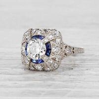 White & Blue Round Diamond 2.10ct Art Deco Engagement Ring 935 Argentium Silver