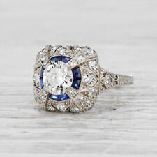 White & Blue Round Diamond 2.10ct Art Deco Engagement Ring In Solid 925 Silver