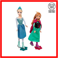 Disney Frozen Ice Skating Elsa Anna Dolls Figures Bundle Store Exclusive w Stand