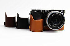Professional Genuine Leather Bottom Camera case half Bag for Sony A6000 A6300