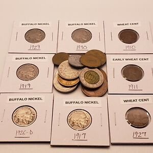 Junk Drawer Coin Lot Early Buffalo Nickels Wheat Cents & More
