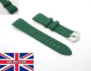 Curved End Green Premium Waterproof Silicone Rubber Watch Strap Band 20mm 22mm