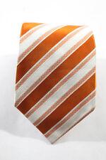 Kiton Orange White Silk Striped Tie Closure Classic Width Mens Tie