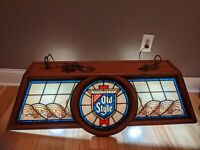 VINTAGE HEIELEMANS OLD STYLE BEER POOL TABLE LIGHT BAR  SIGN  NEEDS TLC