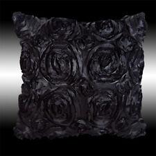 """BLACK 3D RAISED RIBBON ROSES FAUX SILK DECO CUSHION COVER THROW PILLOW CASE 16"""""""