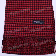Women Men Unisex 100% CASHMERE Houndstooth Red/Black Scarf SCOTLAND