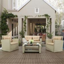 4PC Patio Conversation Set Rattan Garden Seating w/ Cushion Outdoor Furniture