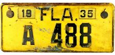 1935 Florida License Plate #A488 LOW NUMBER With SLIDE LOCK TAB