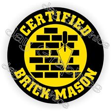 Certified Brick Mason Hard Hat Helmet Sticker | Decal Label Badge Masonry