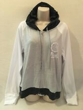 VICTORIA'S SECRET PINK PERFECT FULL ZIP HOODIE WHITE/GRAY MULTI LG NWT
