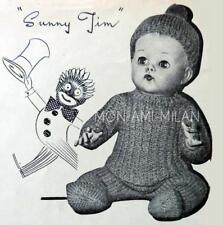 50s Knitting Pattern BABY BOY DOLLS CLOTHES,JERSEY,CAP,LEGGINGS,DOLLY PRAM SUIT