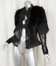 ROYAL UNDERGROUND Womens Black Leather Fox Fur Lace Ruffle Zip Jacket Coat S