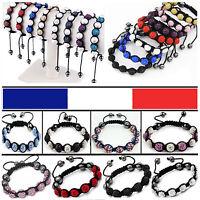 Bracelet Shamballa Boule Disco 9 Perles ou 7 perles Cristal Strass Hématite Neuf