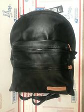 EastPak USA black leather backpack rucksack cuir carryon daypack sac bag tote