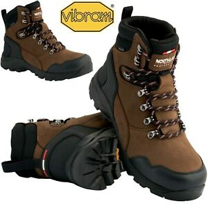 MENS WATERPROOF BOOTS LEATHER VIBRAM SOLE WALKING HIKING ANKLE TRAINERS SHOES SZ