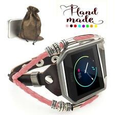 New Fashion Classic Leather Watch Band Strap Metal Frame Tracker Fr Fitbit Blaze