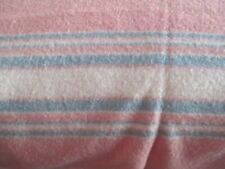 Vtg Pink Wool ? Blanket w/ Blue & White Accents, 84 X 70