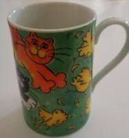 Crazy Cats Dunoon Fine Porcelain 10 OZ Mug by Jane Brookshaw Made in Scotland