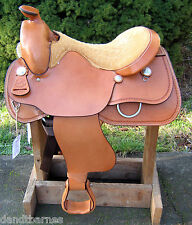 "New Simco Western Saddle 15"" Seat Natural Gold Pleasure/Trail ZS244 Horse Tack"