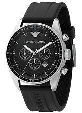 NUOVO EMPORIO ARMANI ar0527 Cronografo Nero Orologio Da Uomo - 2 anni di garanzia