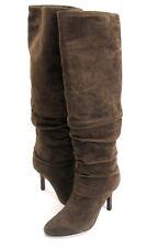 ISOLA WOMEN'S MOCHA HIGH-HEEL KNEE-HIGH SLOUCH BOOT TAUPE GREY SUEDE SZ 6 EU 37