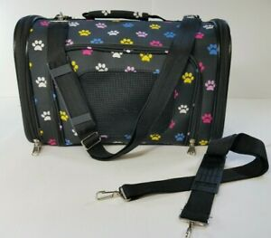 Doggie Carrier Dog 5 Pound lb with Strap Paw Print Pattern, Vented